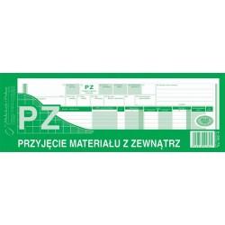 PZ przyjęcie materiałów z zewnątrz 1/2 A4 80 kartek