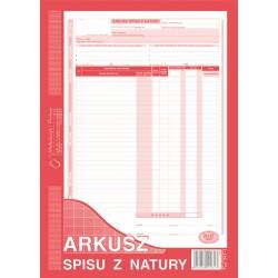 Arkusz spisu z natury A4 (pion) 48 kartek